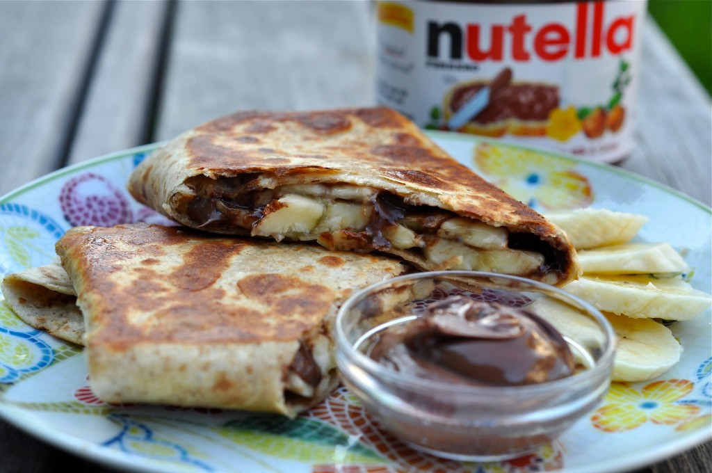 Grilled Banana Wrap with Peanut Butter and Nutella Recipe