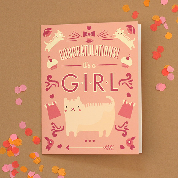 Cat Congratulations Baby Card Free Printable