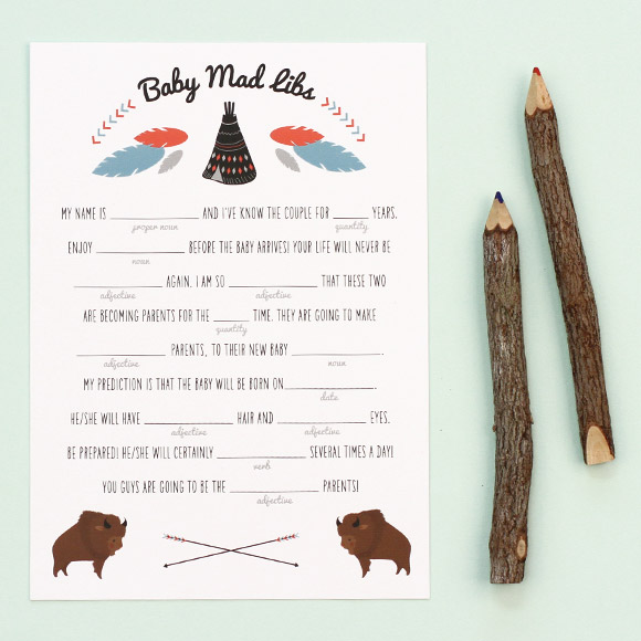 Teepee Baby Mad Libs Free Printable