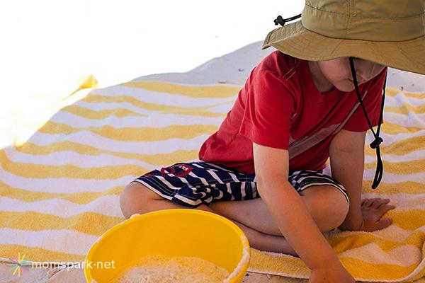Digging on Beach