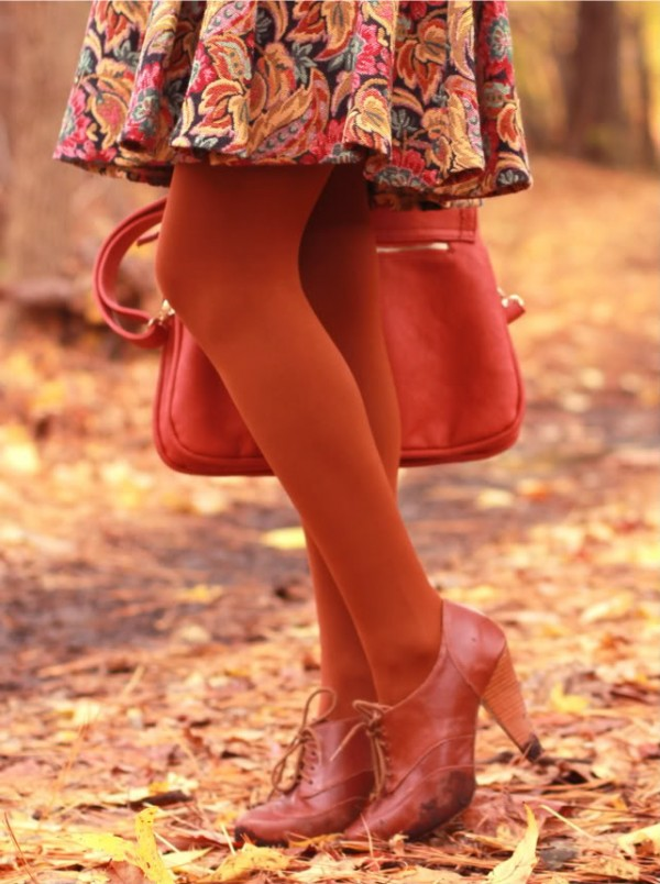 orange tights for fall
