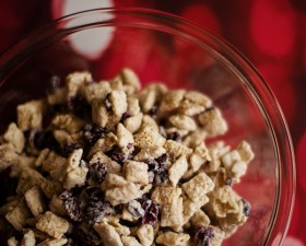 White Chocolate Cranberry Holiday Chex Party Mix Recipe