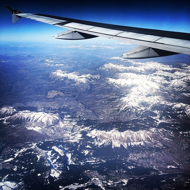 Flying over the Rockies.