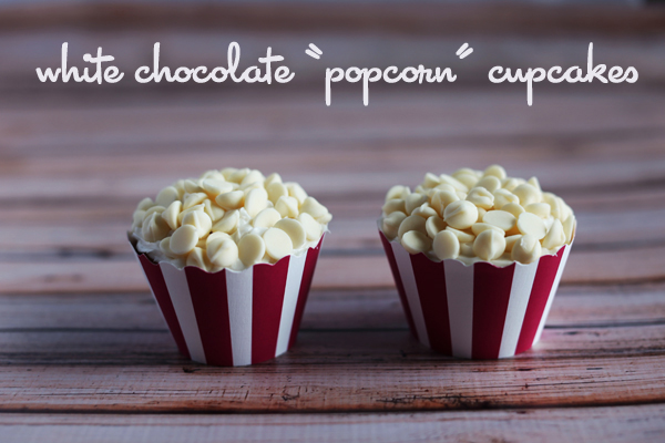 "White Chocolate ""Popcorn"" Cupcakes Recipe for Movie Night"