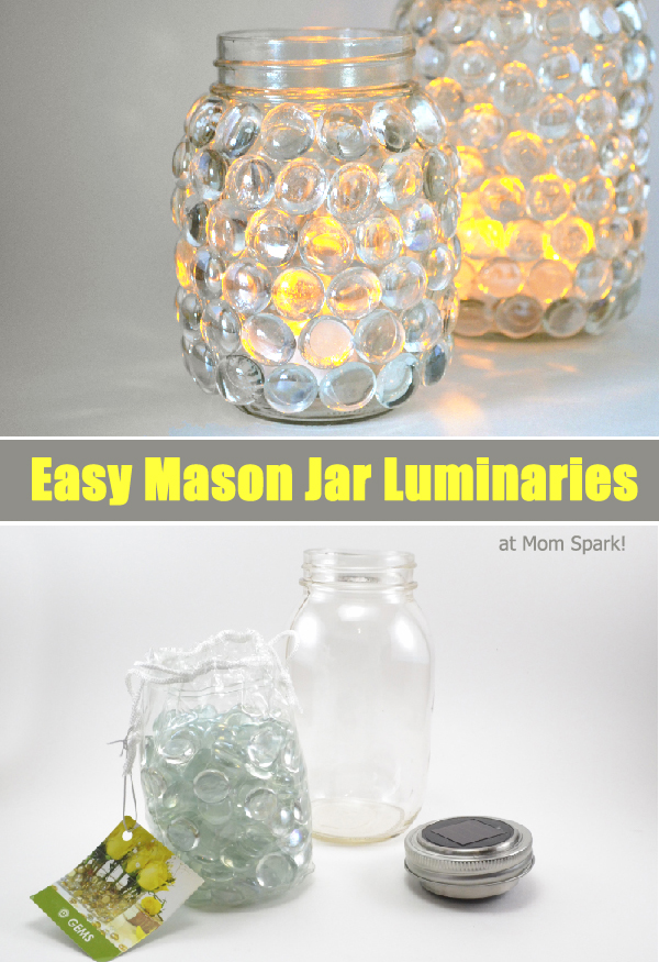 Diy easy mason jar luminaries mom spark mom blogger for Projects to do with mason jars