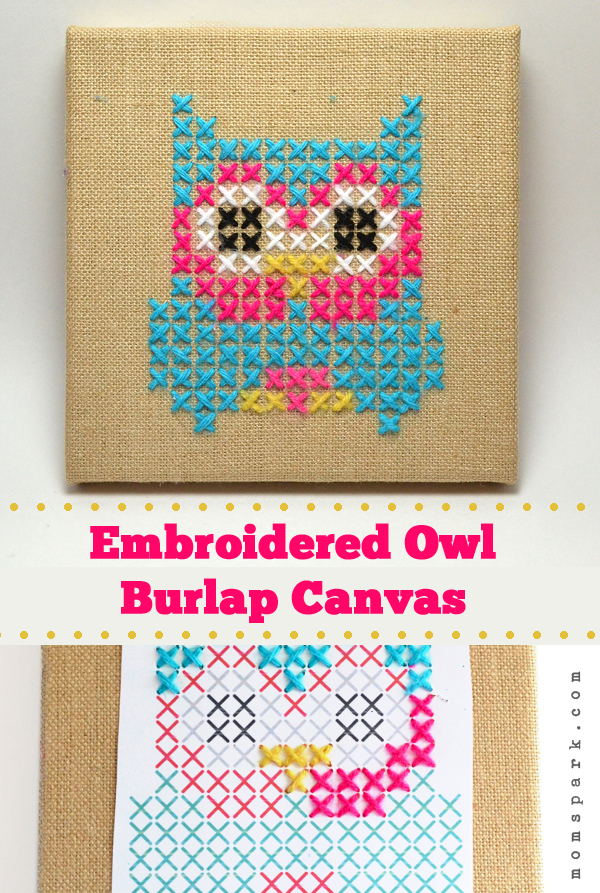 Embroidered Owl Burlap Canvas Tutorial