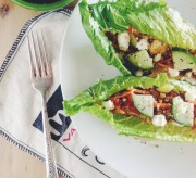 Mediterranean Quinoa Lettuce Wraps with Smoked Paprika Dressing and Feta
