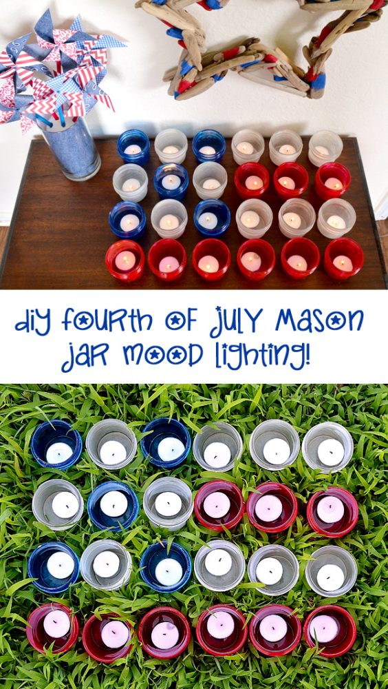 DIY Fourth of July Mason Jar Mood Lighting