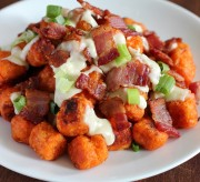 Sweet Potato Puffs with Gorgonzola Sauce and Bacon Recipe