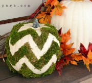 This moss chevron pumpkin is a fun and unique take on traditional Autumn decor!