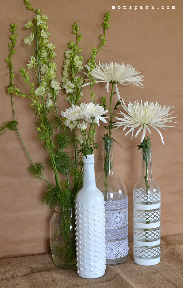 boho wine bottle vase centerpiece diy mom spark mom
