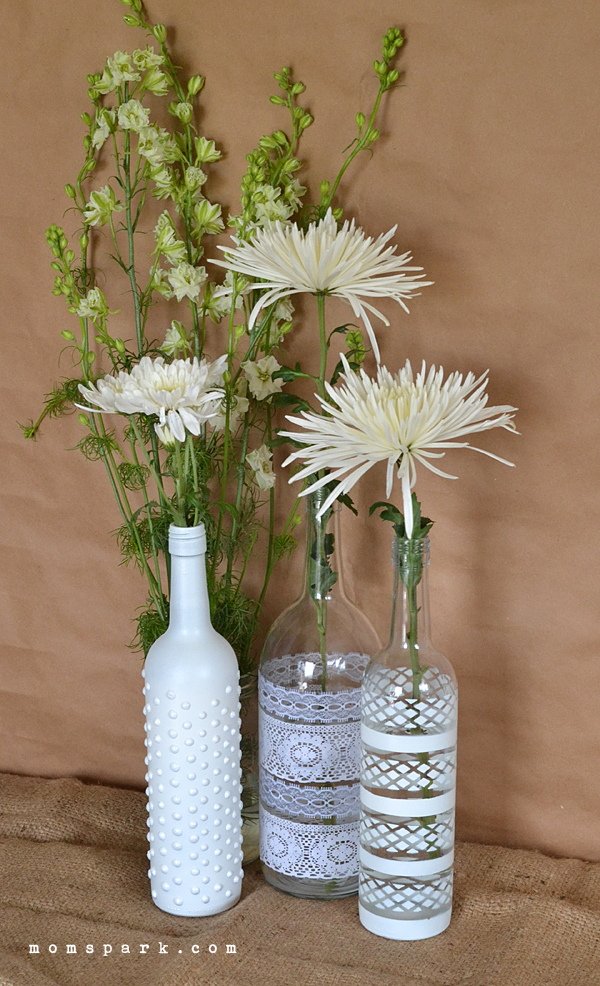 Boho wine bottle vase centerpiece diy mom spark