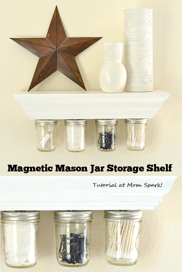 This magnetic mason jar storage shelf is simple to make, incredibly functional and super cute to boot! Full tutorial.