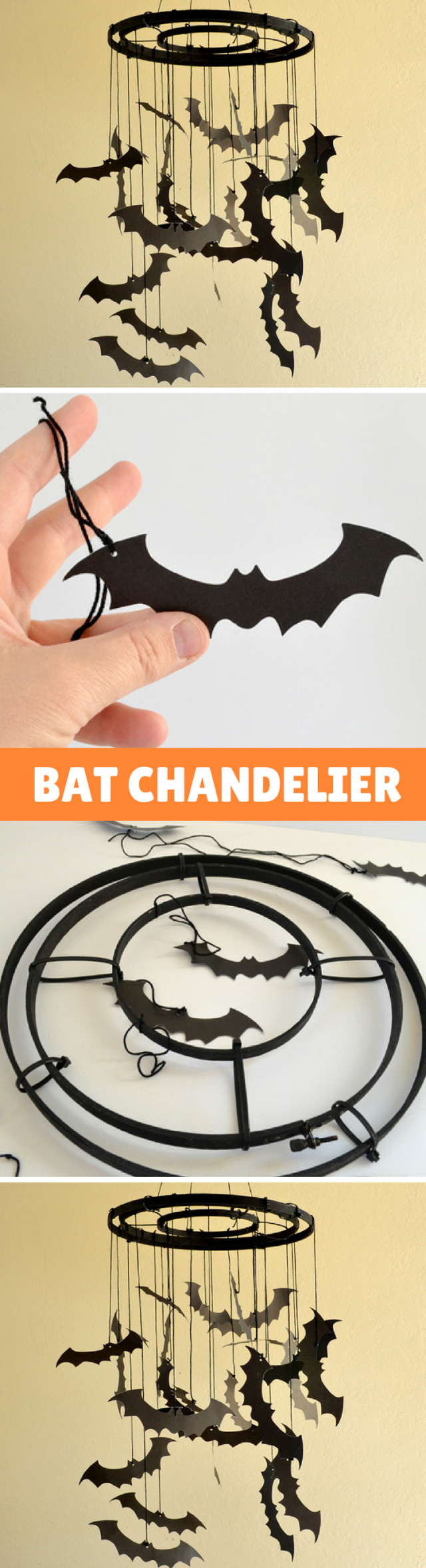 DIY Paper Bat Chandelier Tutorial