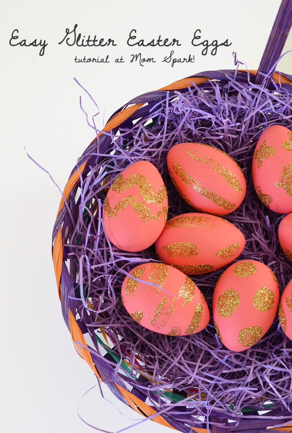 These glitzy and glittery Easter eggs are super fun to make and can be done in your favorite colors!