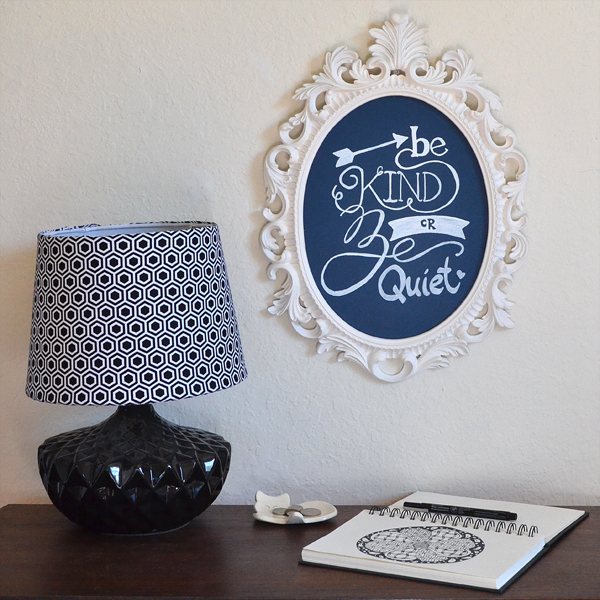 Upcycle an open back frame into a new chalkboard in your favorite color.