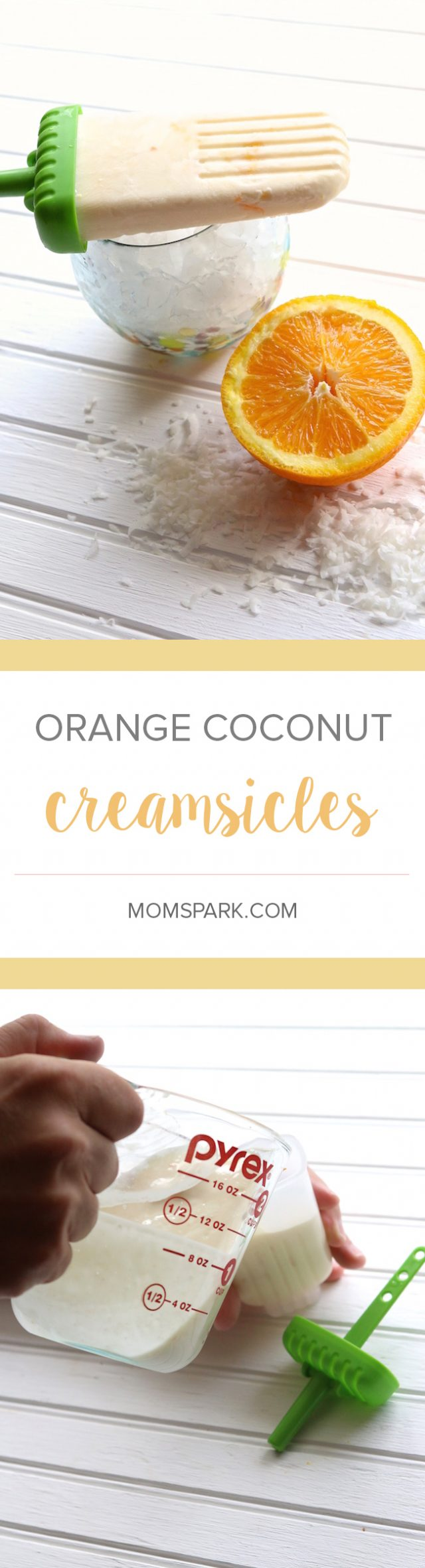 Orange Coconut Creamsicle Ice Pop Popsicle Recipe Summer is here and if you're anything like me, you are craving cool, refreshing snacks. These Orange Coconut Creamsicles are not only healthy, but absolutely delicious and easy to make. They are perfect way to cool off after a day out in the hot sun!
