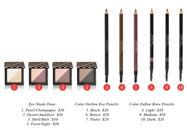 Beautycounter Eye Shade Duos, Color Outline Eye Pencils and Color Define Brow Pencils