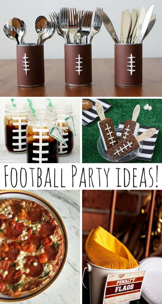 Football Party Ideas! Now that the kids are back in school, some families might just be thinking about the next phase that's about to hit their homes. Oh yes, September marks the start of football season and if you and your spouse are itching to see those first touchdowns, you're going to love these ideas for hosting a football shindig in the comfort of your own home! Tailgating can be fun, but today let's plan for a football party in front of the big screen! ☺ Take a peek below for some fun food and decor ideas to wow the crowd!