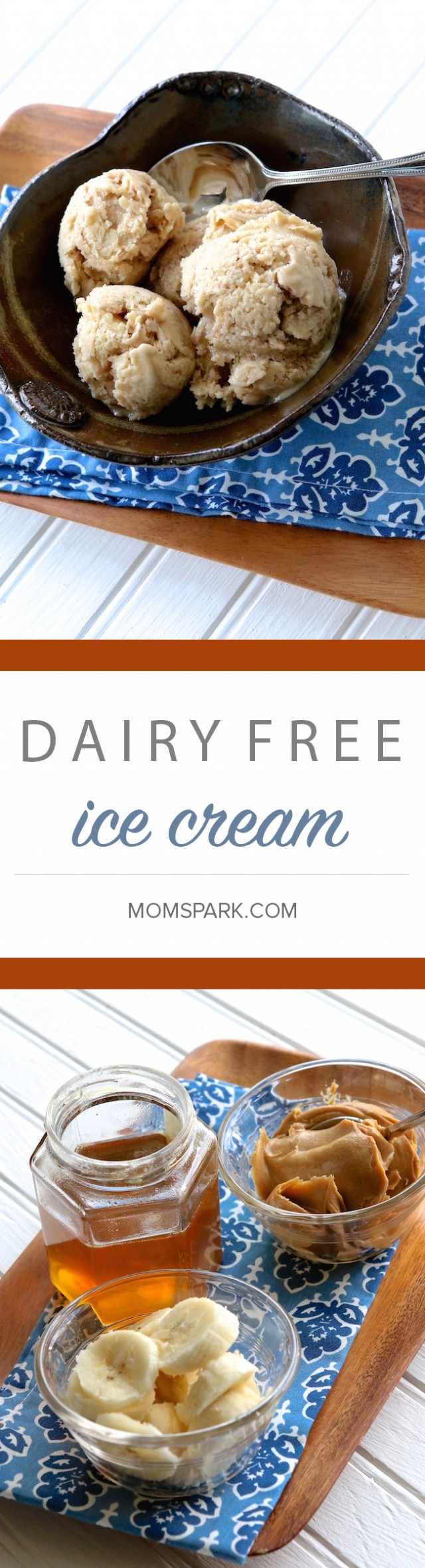 Dairy Free Peanut Butter Honey Banana Ice Cream