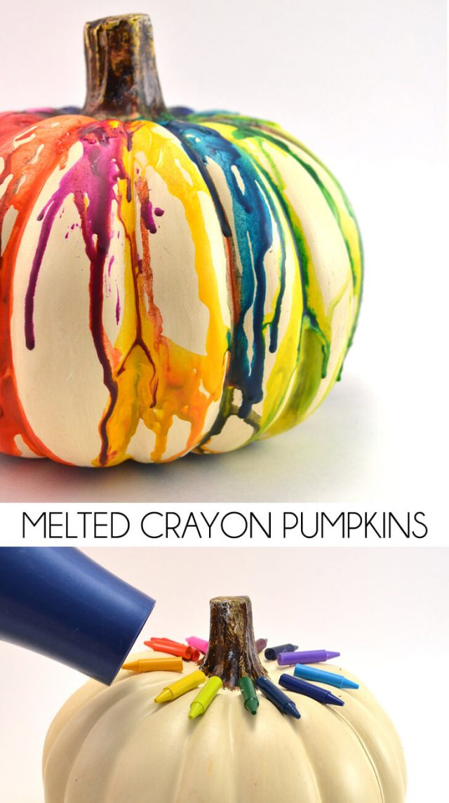 Diy fall halloween melted crayon pumpkin mom spark mom for Easy halloween crafts to make and sell