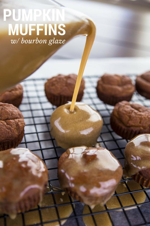Pumpkin Muffins With Vanilla Bourbon Glaze Recipe | Mom Spark - A ...
