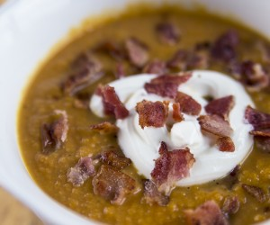 creamy pumpkin soup with bacon
