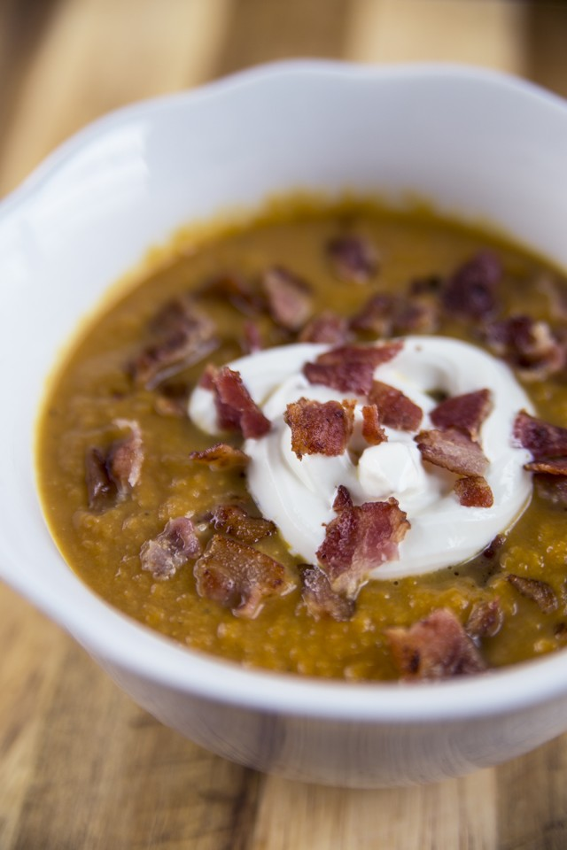Creamy Pumpkin Soup With Bacon Crumbles