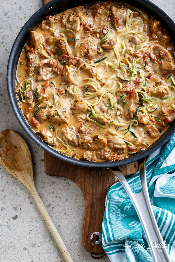 Creamy Sun Dried Tomato Parmesan Chicken Zoodles