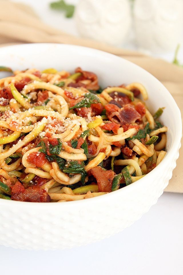 Creamy BLT Zucchini Noodles