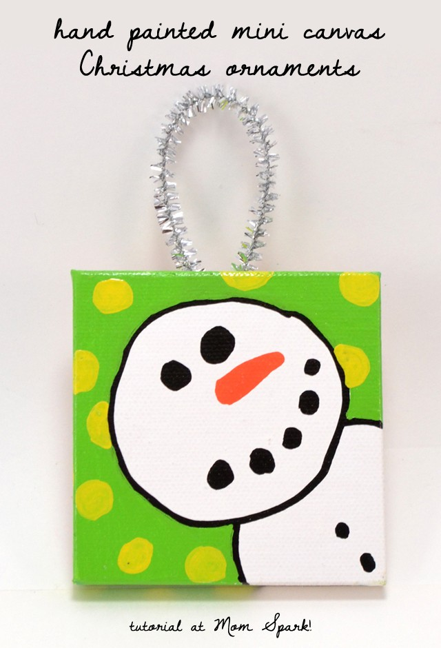 These simple to paint mini canvases make the cutest handmade Christmas ornaments!