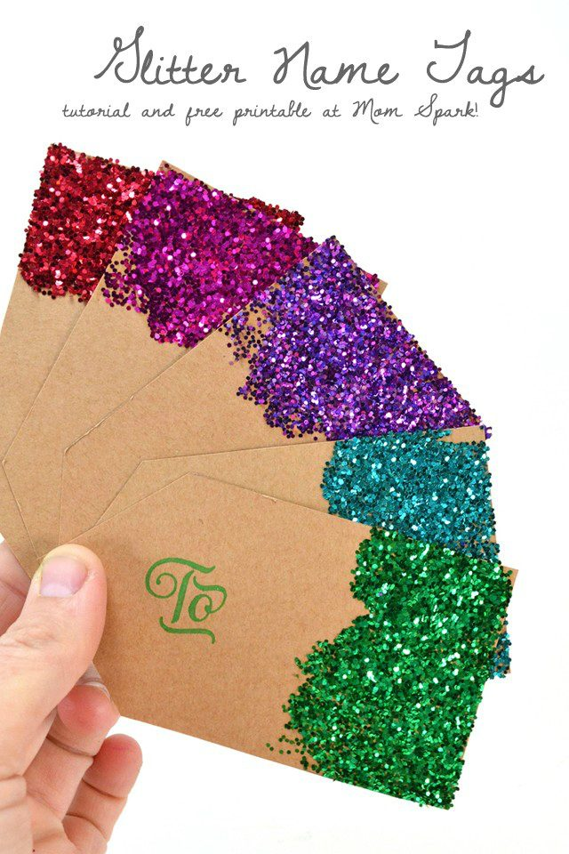 DIY Glitter Present Gift Name Tags