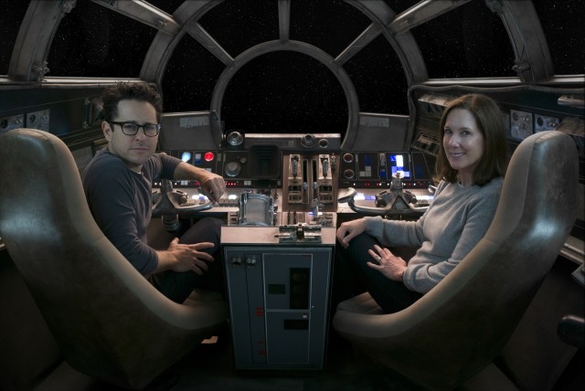 Star Wars: The Force Awakens..L to R: Director/Producer/Screenwriter J.J. Abrams and Producer Kathleen Kennedy..Ph: David James..? 2015 Lucasfilm Ltd. & TM. All Right Reserved.