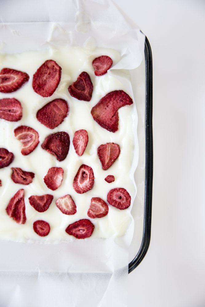 Frozen Strawberry Vanilla Yogurt Bark