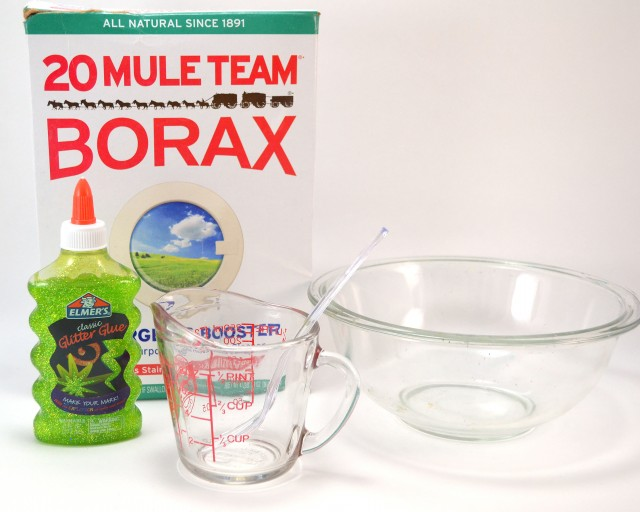 Grab the borax from the laundry room and the glue from the kid's stuff and let's make them some homemade glitter slime in just a few minutes!