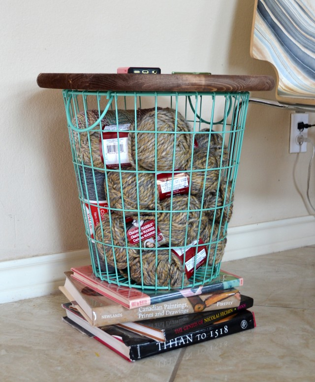 Stylishly store your yarn for working projects while keeping it easily on hand!