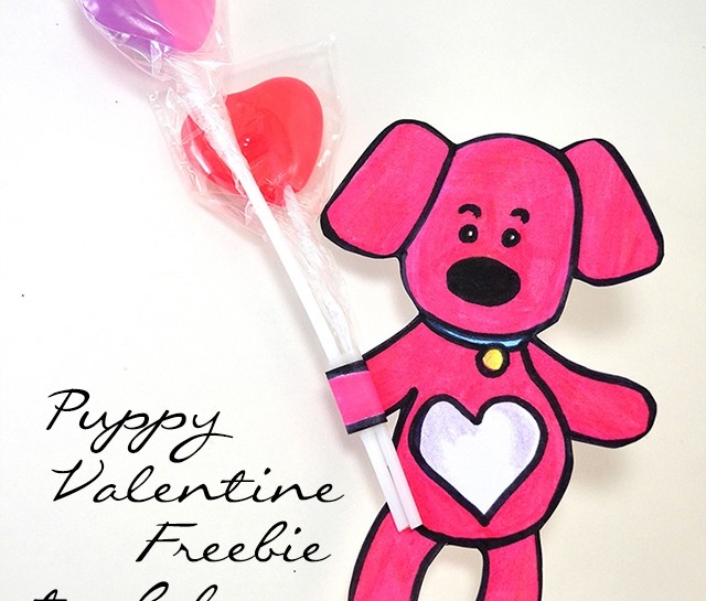 Grab this puppy Valentine freebie to color. With a sweet little paw wrapped around sweet little lollipops, it's the cutest gift the littles could give!