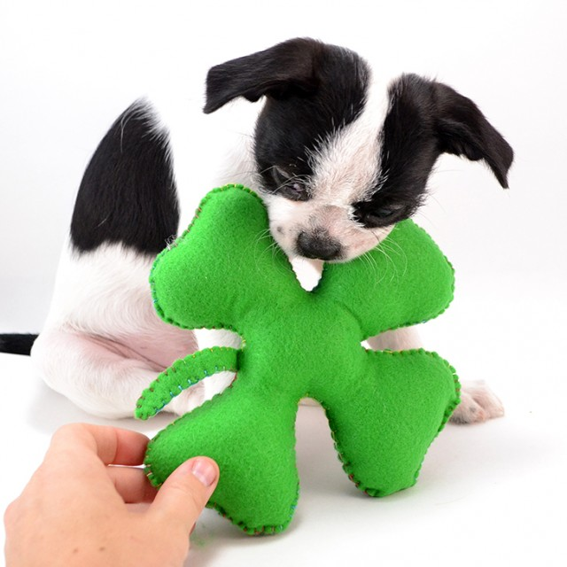 All you need are two pieces of felt, some embroidery floss and stuffing and you're on your way to a fab and super easy pet toy.
