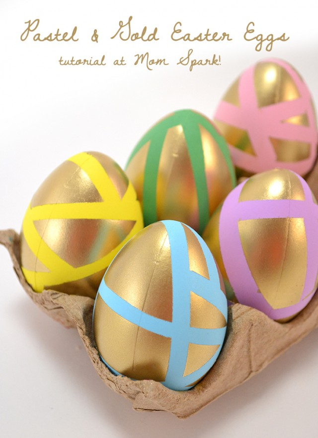 Geometric Pastel and Gold Easter Eggs