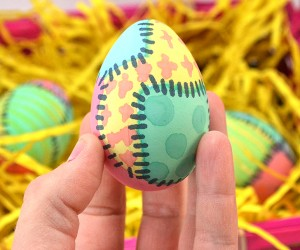 "These ""quilted"" dyed Easter eggs are too cute and lots of fun to make!"