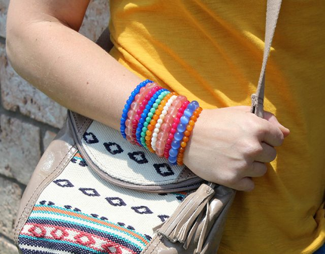 A stack of stone bracelets makes for the perfect addition to any boho outfit or even jeans and a tee shirt!