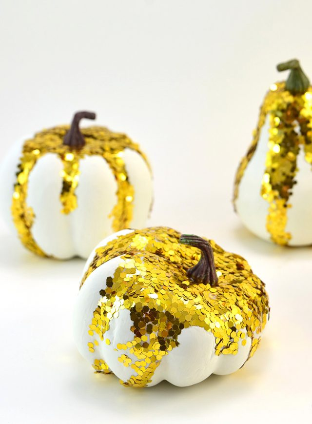 These glitter gourds are the perfect amount of sparkle to brighten up your fall decor!