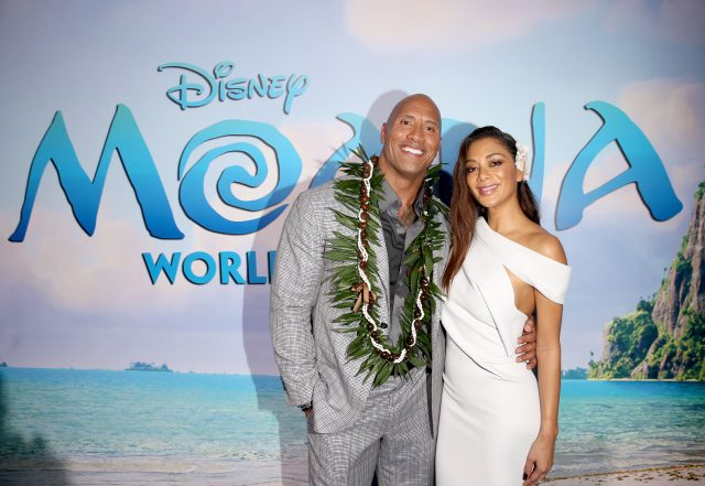 "HOLLYWOOD, CA - NOVEMBER 14: Actors Dwayne Johnson (L) and Nicole Scherzinger attend The World Premiere of Disney's ""MOANA"" at the El Capitan Theatre on Monday, November 14, 2016 in Hollywood, CA. (Photo by Jesse Grant/Getty Images for Disney) *** Local Caption *** Nicole Scherzinger; Dwayne Johnson"