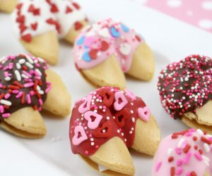 Chocolate-Dipped Valentine Fortune Cookies Recipe that is perfect for a Valentine's Day gift or sweet snack!
