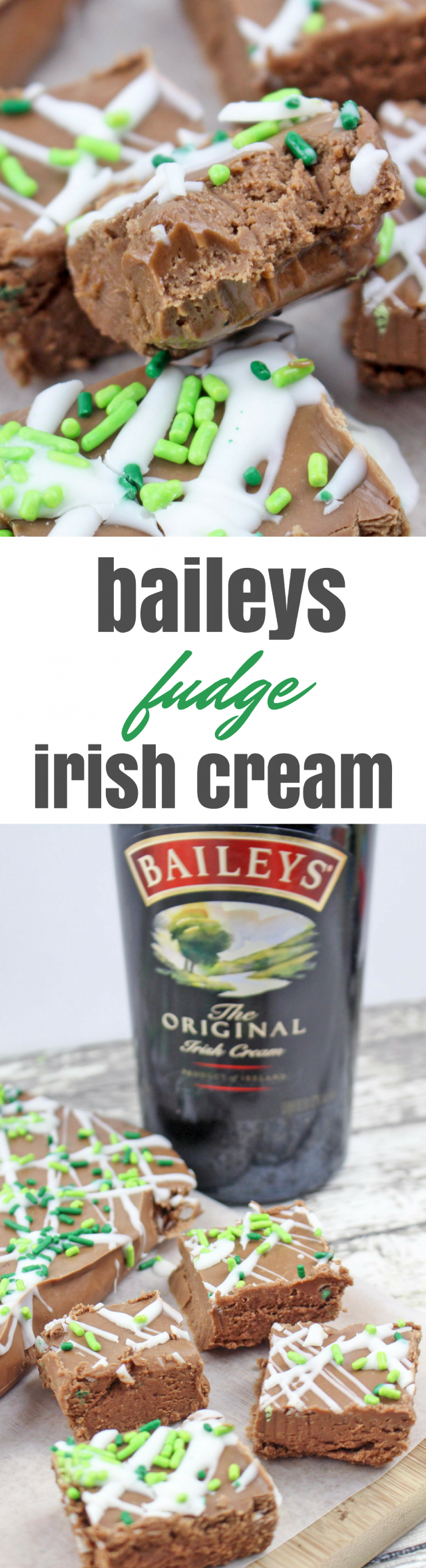 Green Baileys Irish Cream Chocolate Fudge Recipe. Chocolate seems appropriate for any St. Patty's Day event or party, but fudge, in my opinion, sounds even better. How about a rich, decadent fudge with a hint of Baileys Irish Cream?