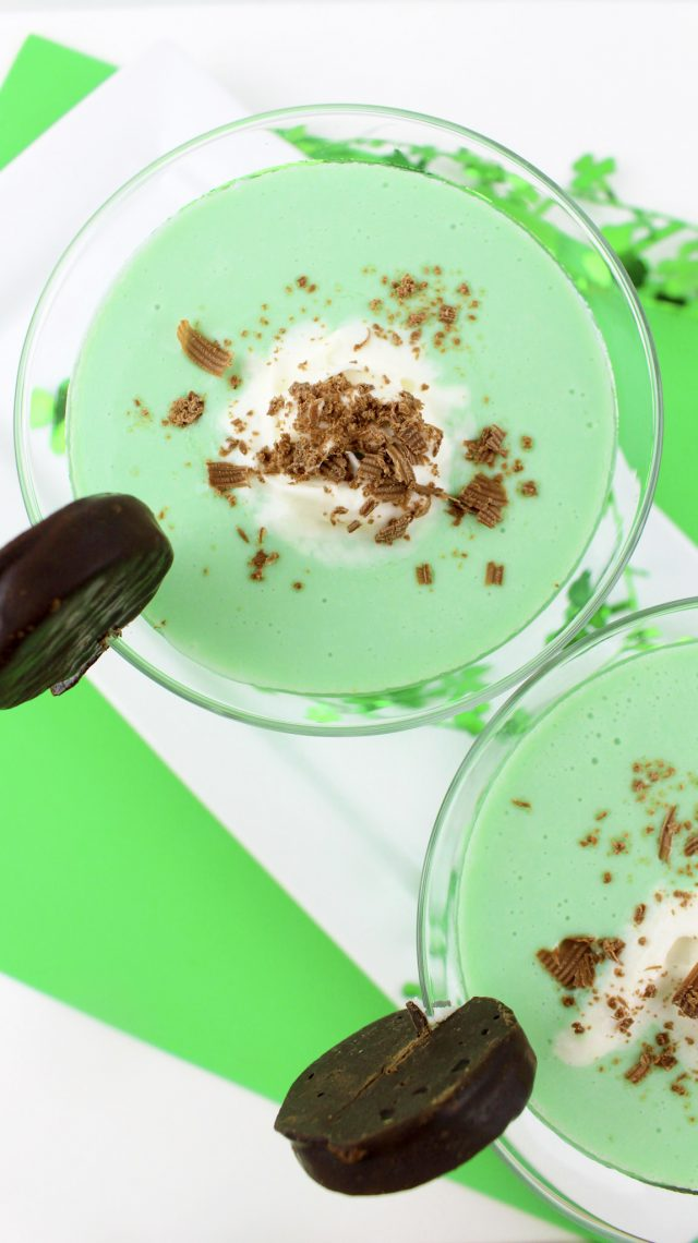 """Green Peppermint Patty Cocktail Drink Recipe! I am a big believer in having a cocktail (or mocktail for the non-drinkers) for every holiday. Because it's fun and special. And it gives me a good reason to be creative. So, for St. Patrick's Day coming up, I thought, """"Why not put a Peppermint Patty into a drink?"""" So, it happened."""