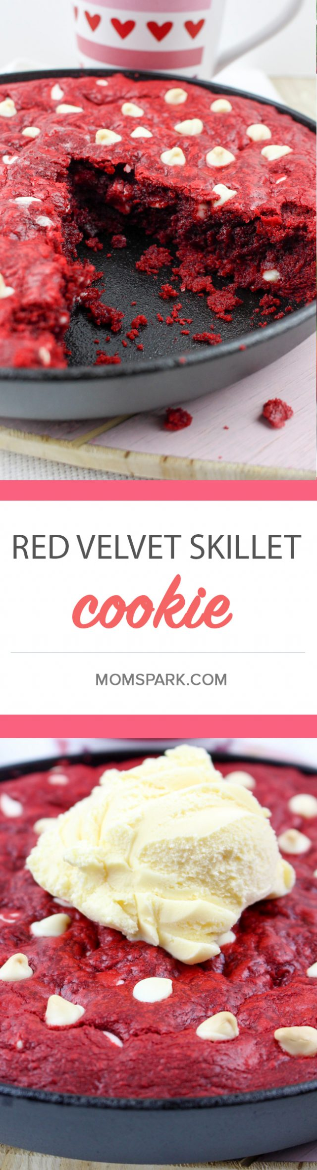 Red Velvet Skillet Dessert Cookie Recipe - What is it about red velvet that makes it so very delicious? All I know is that I want red velvet with every dessert for Valentine's Day. I'm also cool with it having another sweet counterpart, like white chocolate chips. Oh, and why not put all of that into a cookie skillet, too?