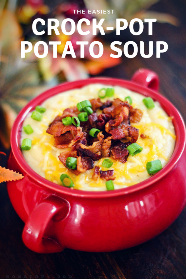 CrockPot Slow Cooker Loaded Potato Soup Recipe - This recipe makes an extra thick, delicious potato soup. Be sure to top with cheese, bacon, green onions and possibly a dollop of sour cream.