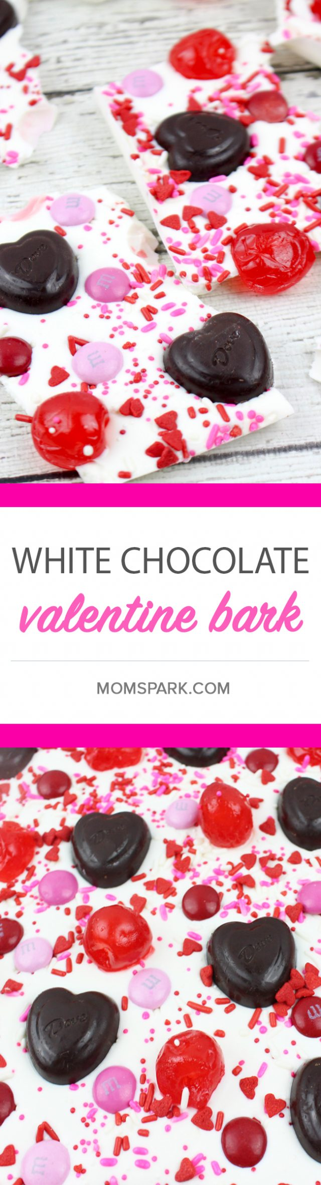 White chocolate Valentine's Day bark that is full of yummy chocolates, cherries, and sprinkles. So perfect for a treat for your loved one or...yourself.