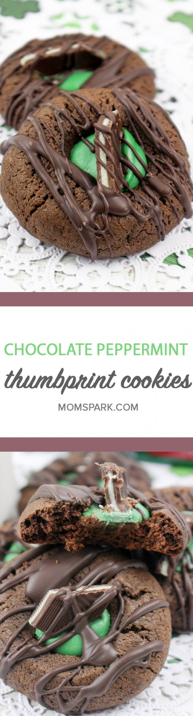 Chocolate Peppermint Thumbprint Cookies Recipe